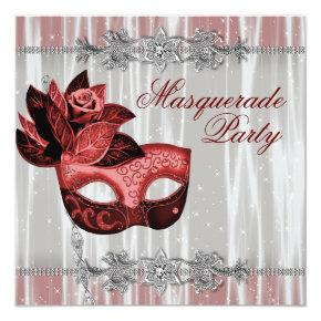 Silver Red Sparkles Red Masquerade Party Invitation