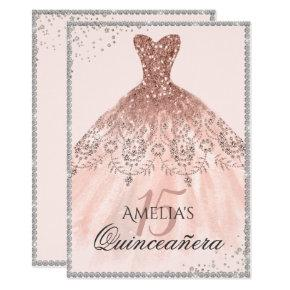 Silver Rose Gold Dress Sparkle 15th Quinceanera Invitation