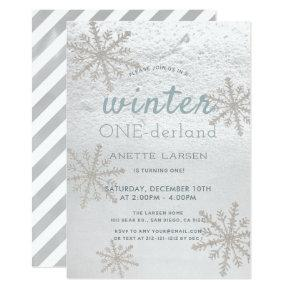 Silver Snowflake Winter Onederland 1st Birthday Invitation