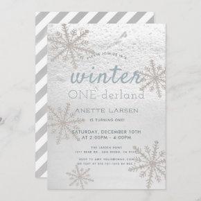 Silver Snowflake Winter Onederland 1st Birthday Invitation