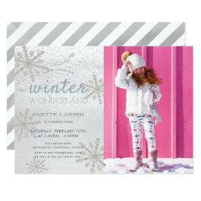 Silver Snowflake Winter Wonderland Photo Birthday Invitations