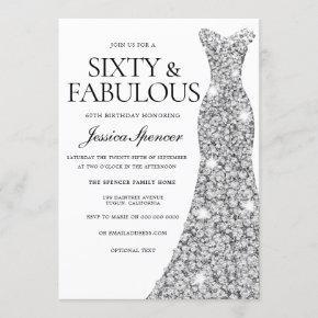 Silver Sparkle Dress 60 & Fabulous 60th Birthday Invitation