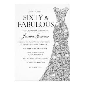 Silver Sparkle Dress 60 & Fabulous 60th Birthday Invitations