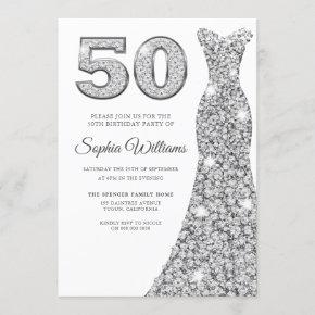 Silver Sparkle Dress Womans 50th Birthday Party Invitation