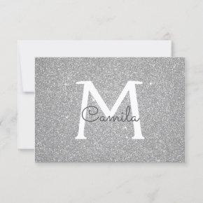 Silver Sparkle Glitter Quinceanera Save the Date