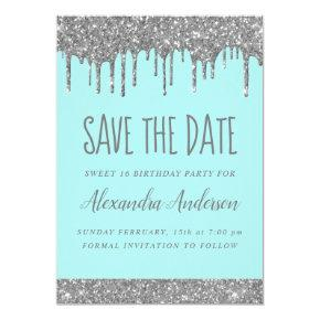 Silver Sparkle Glitter Sweet 16 Save the Date Invitation