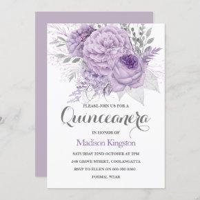 Silver Sparkle Lavender Quinceanera Party Invite
