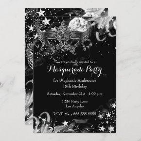 Silver Sparkle Magical Night Masquerade Invitation