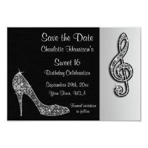 Silver Stiletto & Treble Cleft 16th Save The Date Card
