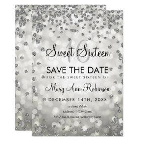 Silver Sweet 16 Save The Date Glitter Lights Invitation