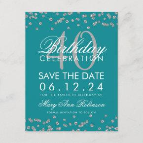 Silver Teal 40th Birthday Save the Date Confetti