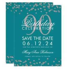Silver Teal 90th Birthday Save Date Confetti Invitation
