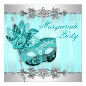 Silver Teal Blue Masquerade Party