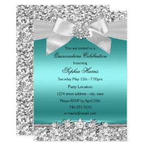 Silver Teal Glitter & Jewel Bow Quinceanera Invitations