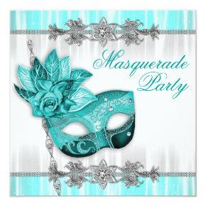 Silver Turquoise Blue Masquerade Party