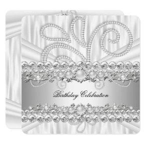 Silver White Diamonds Pearl Elegant Birthday Party Invitation