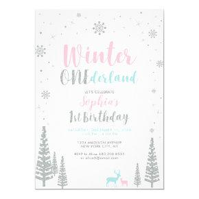 Silver Winter onederland 1st girl birthday party Invitation
