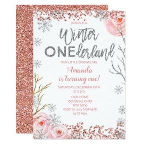 Silver Winter ONEderland First Birthday Invite