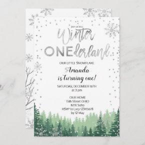 Silver Winter ONEderland Snow Birthday Invite