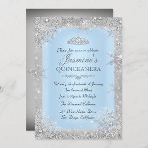 Silver Winter Wonderland Blue Quinceanera Invite