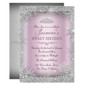 Silver Winter Wonderland Pink Sweet 16 Invitations