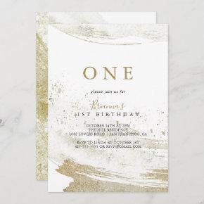Simple Gold Minimalist First Birthday Party Invitation