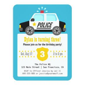 Siren Police Car Kids Birthday Party Invitations