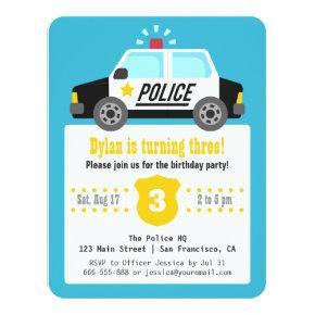 Siren Police Car Kids Birthday Party Invitation