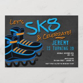 Skate Party Invitation, Roller Skating Invitation