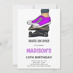 Skateboard Birthday Invitation, Skate Invitation