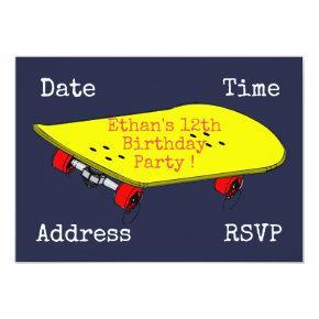 Skateboard teenage boys sport birthday party invitation