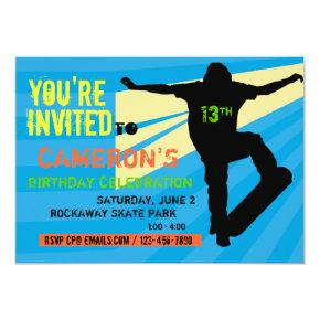 Skateboarder Teen Birthday Invitation