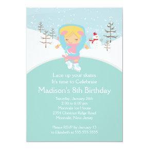 Skater Girl Ice Skating Birthday Party Invitations