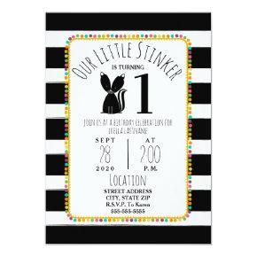 Skunk Little Stinker Pompom Stripes Birthday Party Invitation