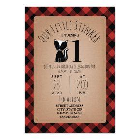 Skunk Lumberjack Plaid Birthday Party Invitation