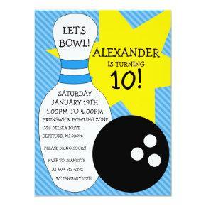 Sky Blue Bowling Bash Bowling Birthday Party Invitation
