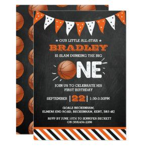Slam Dunking The Big One | Basketball 1st Birthday Invitation