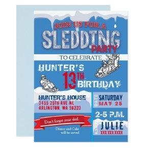 Sledding Birthday Party Invitations