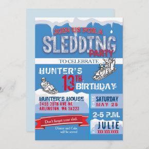 Sledding Birthday Party Invitation