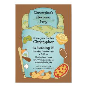 Sleepover Boys Birthday Invitations