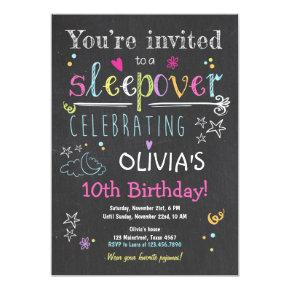 Sleepover Invitations Slumber Party Pajamas Girl