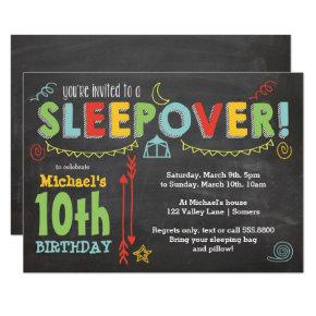 Sleepover Party, Chalkboard and Bold Colors Invitations