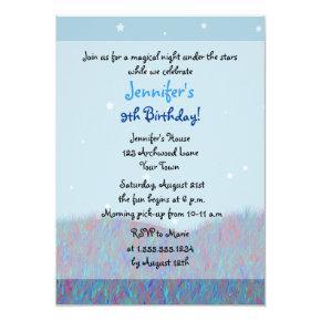 Sleepover Under the Stars Birthday Party - Blue Invitation