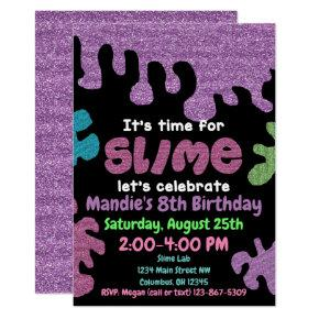 Slime birthday party Invitations; slime lab; girls Invitations