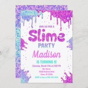 Slime Party Birthday Invitation Glitter