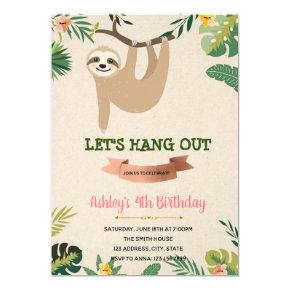 Sloth girl birthday invitation