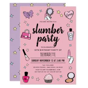 Slumber Makeup Spa Party Pink Girl Birthday Invitation