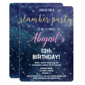 Slumber Party Birthday Galaxy Sleepover Invitation