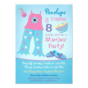 Slumber Party Birthday Invitations Pajama Sleepover