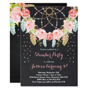 Slumber Party Birthday Invitation Sleepover Party
